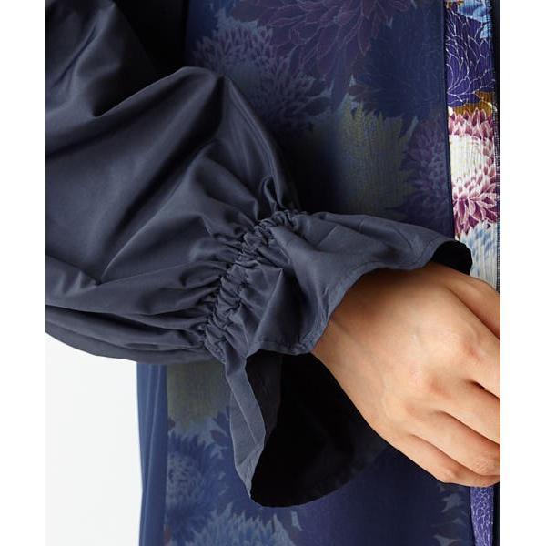 セール (アスターガーデン)十二単ワンピース(ふりふオリジナル 和柄 ワンピース レトロ 秋冬 重ね シフォン ボリューム袖 長袖 ミディー丈 無地 花柄 モダン|furifu|17