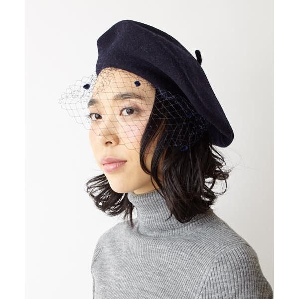 再値下げ チュールベレーふりふセレクト Le Beret Francais ル ベレー フランセ 帽子 ベレー帽 フランス製 婦人 レディース チュール 黒 紺