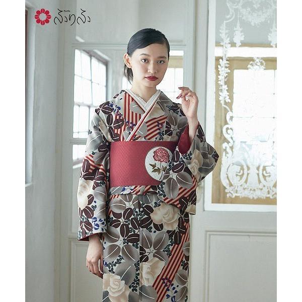 小紋「萩アズキ」 小紋 ふりふオリジナル 着物 キモノ きもの kimono 卒業式 パーティー 2次会 仕立て上がり 訪問着調 付け下げ プレタ