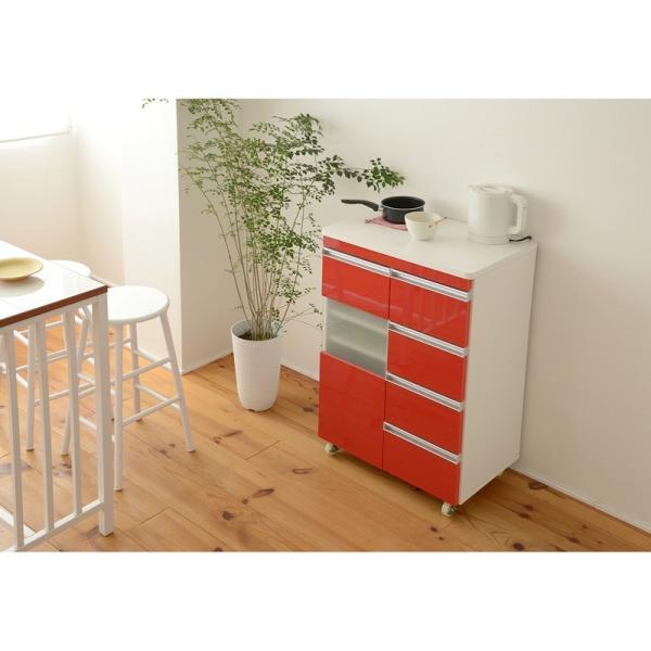 キッチン収納 鏡面カウンターワゴン 扉収納 60cm幅 Parl|furniture-direct|03