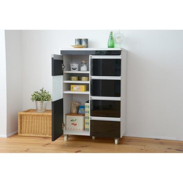 キッチン収納 鏡面カウンターワゴン 扉収納 60cm幅 Parl|furniture-direct|04