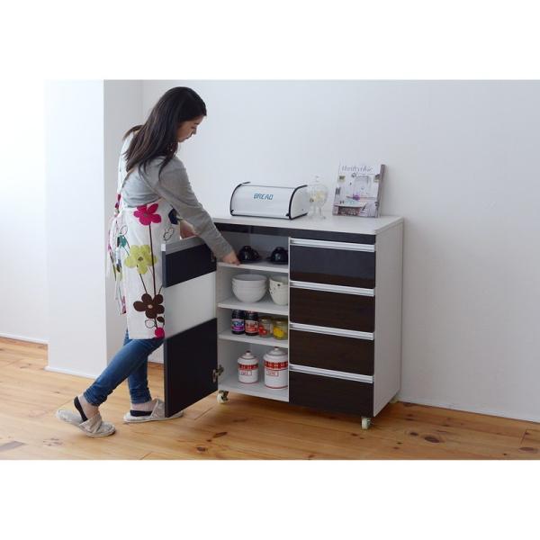 Parl 鏡面カウンターワゴン 扉収納 80cm幅 furniture-direct 03