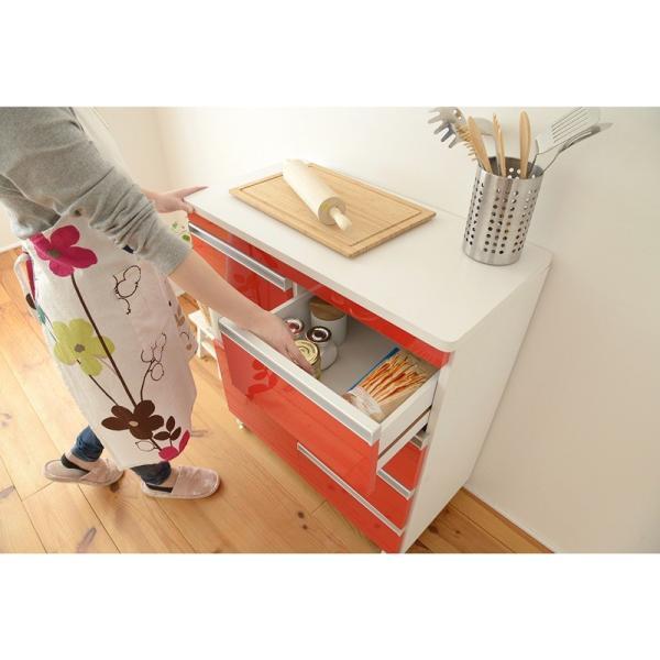 Parl 鏡面カウンターワゴン 扉収納 80cm幅 furniture-direct 04