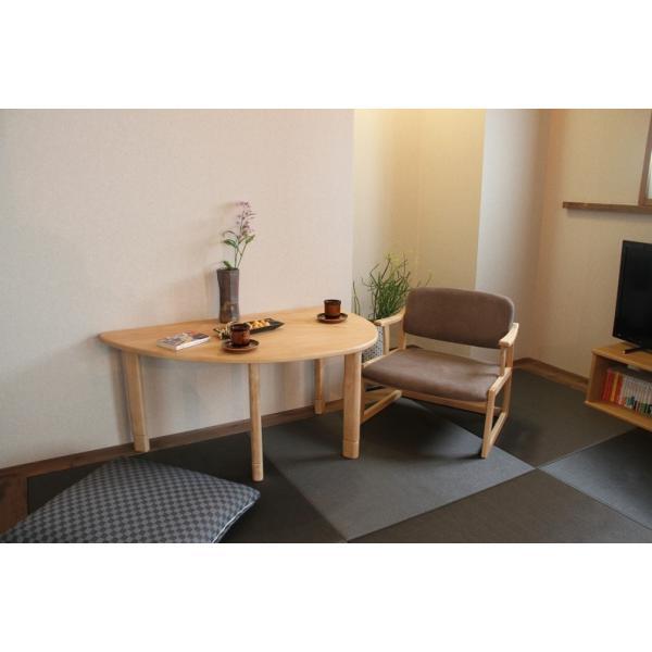 ロットン 半円テーブル Loton  table ローテーブル かわいい形 天然木 木 |furniture-direct|06