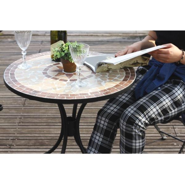 ベランダ テーブル おしゃれ 幅61×奥行61×高さ69.5cm モザイク柄 星柄 ガーデンテーブル