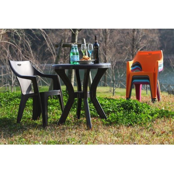ベランダ テーブル おしゃれ 幅67×奥行67×高さ73cm 円型 ガーデンテーブル ブラウン