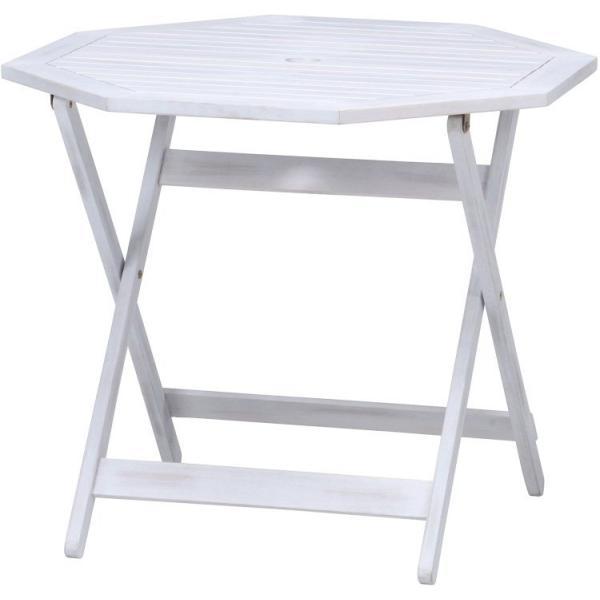 ベランダ テーブル おしゃれ 幅90×奥行90×高さ71.5cm 八角形テーブル 木製 ガーデンテーブル ホワイト