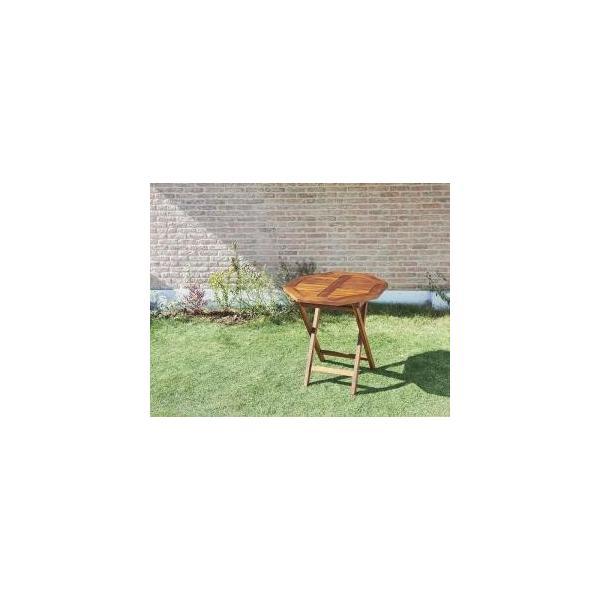 ガーデンテーブル 折りたたみ チーク天然木 おしゃれ W70 八角形