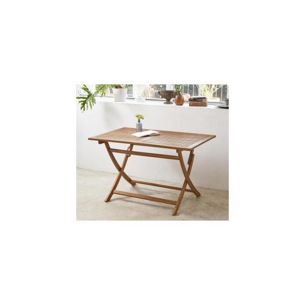 ガーデンテーブル おしゃれ 折りたたみ アカシア 天然木 W120