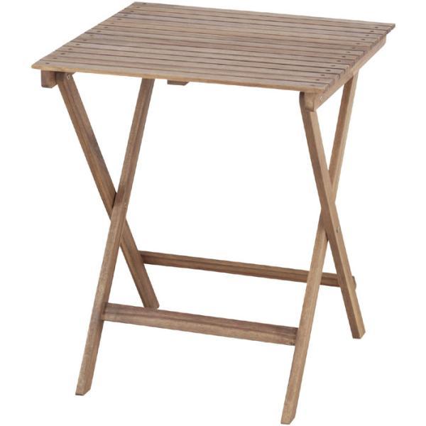 折りたたみ 木製 ガーデン テーブル 幅60cm パラソルホール無し木製テーブル 机 つくえ ガーデンテーブル ベランダ 安い