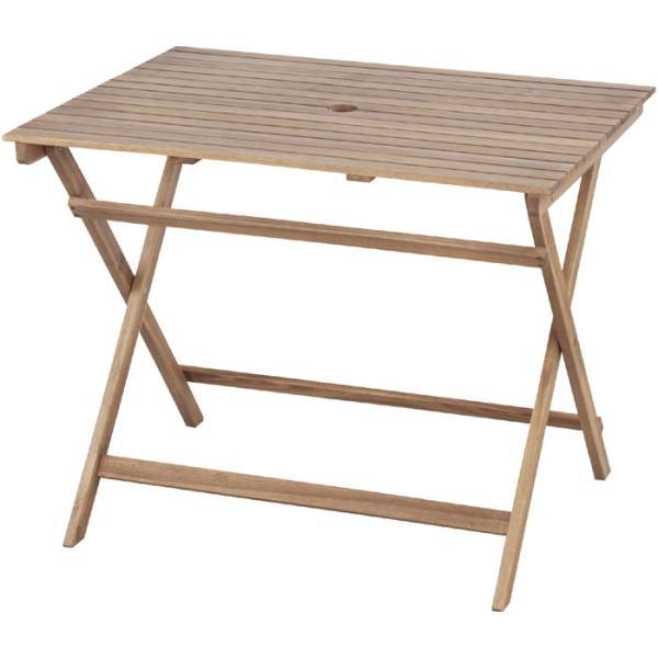 折りたたみ 木製 ガーデン テーブル 幅90cm パラソルホール付き 木製テーブル 机 つくえ ガーデンテーブル ベランダ 安い