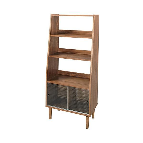シェルフ 収納 キャビネット 木製 ガラス トムテ 幅64cm高さ144cm 3段+ガラス戸棚 ウォールナット 収納家具 安い|furnitureplus