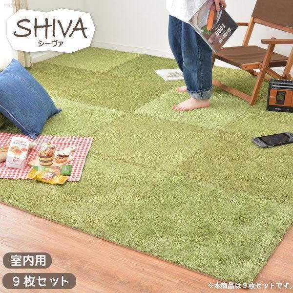 ジョイントマット 芝生風 60×60 9枚組 60角 正方形 リビングラグ センターラグ ラグマット カーペット 低反発 ウレタン グリーン 緑 絨毯 キッズラグ