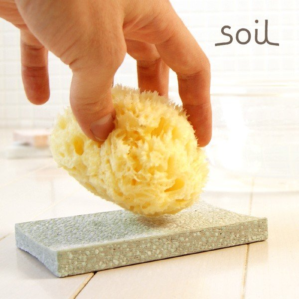 「soil」スポンジトレイ(グリーン)【ソイル 石けん皿 ソープトレー 珪藻土】