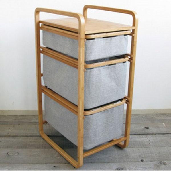 収納「グリーンECO(エコ)」3段シェルフ 送料無料【棚 引き出し  洗面所 収納ボックス ランドリーバスケット ランドリーボックス 洗濯ラック】