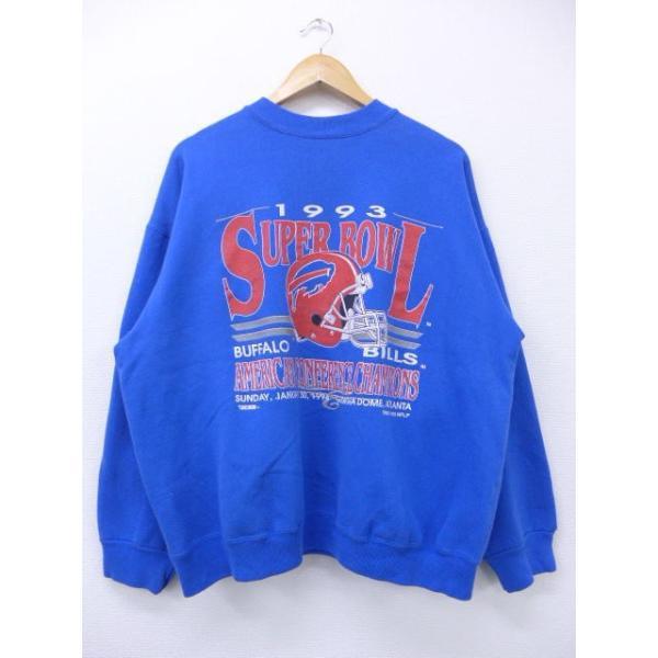 XL/古着 スウェット NFL バッファロービルズ 大きいサイズ 青 ブルー アメフト スーパーボウル 19jan14 中古 メンズ 長袖 スエット トレーナー トップス