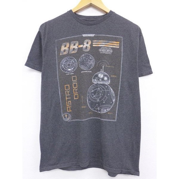 L/古着 Tシャツスターウォーズ BB-8 濃グレー 霜降り 19jun18 中古 メンズ 半袖|furugiyarushout