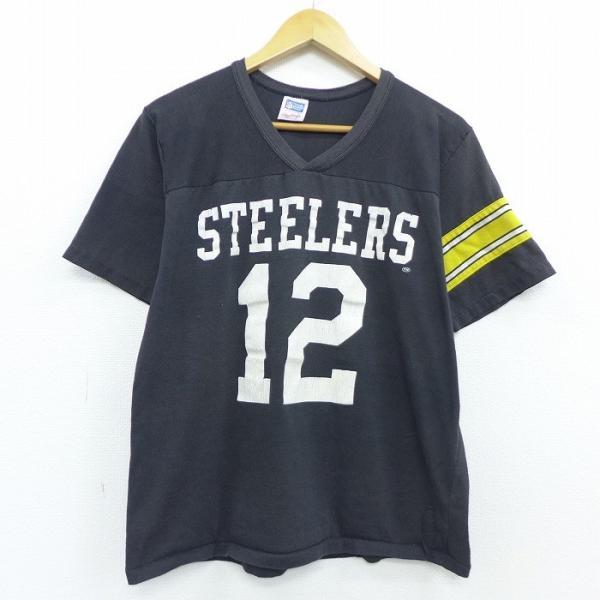 L/古着 半袖 ビンテージ フットボール Tシャツ 80s ローリングス NFL ピッツバーグスティーラーズ Vネック 黒 ブラック アメフト スーパーボウル 20may11 中古