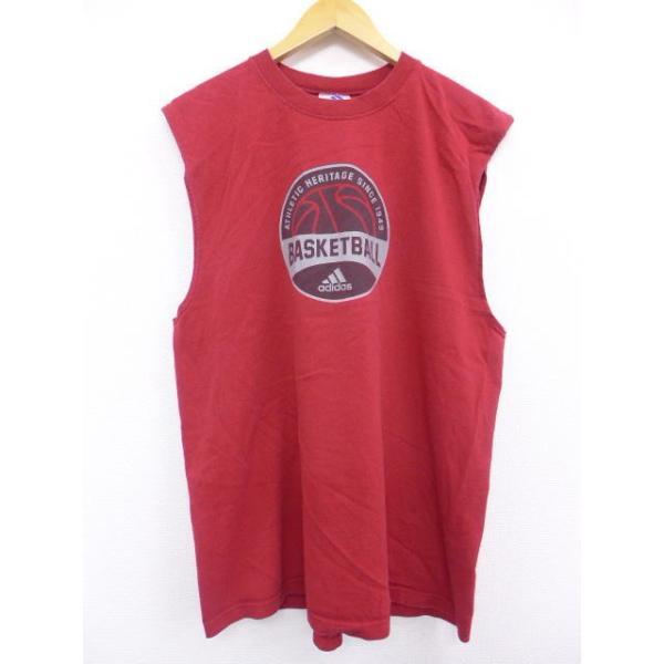 XL/古着 ノースリーブ ビンテージ Tシャツ アディダス adidas バスケットボール 赤 レッド 19jul08 中古 メンズ|furugiyarushout