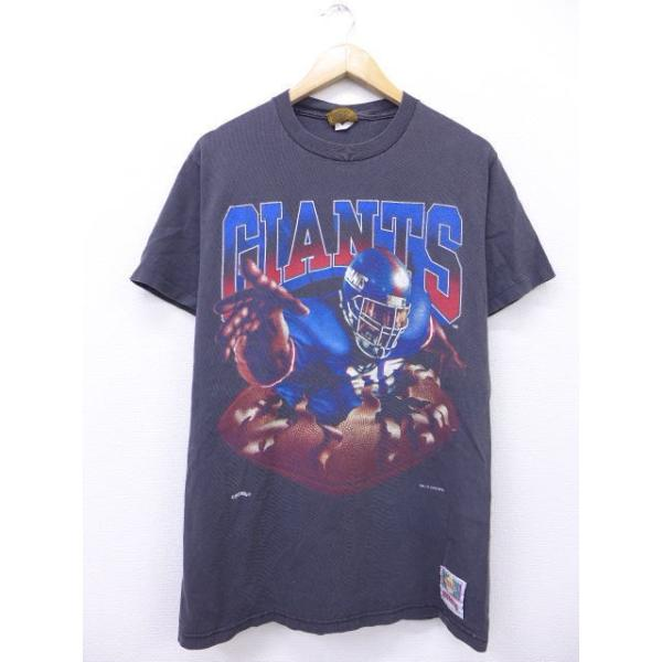 L/古着 ビンテージ Tシャツ NFL ニューヨークジャイアンツ 両面プリント 黒 ブラック アメフト スーパーボウル 【spe】 19jun06 中古 メンズ 半袖
