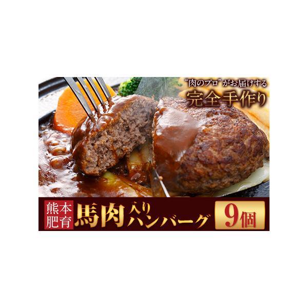 ふるさと納税馬肉入り手作りハンバーグ(約150g×9個)肉の宮本《45日以内に順次出荷(土日祝除く)》熊本県長洲町
