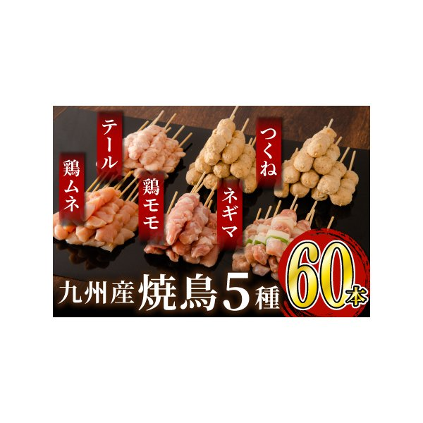 ふるさと納税絶品 九州産焼鳥5種盛合せ60本(特製焼き鳥のタレ付き)佐賀県上峰町