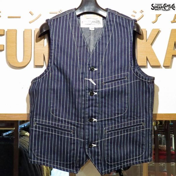 シュガーケーン Sugar Cane 9オンス・ウォバッシュストライプ・ワークベスト【SC12654】421番色(ワンウォッシュ) furutaka