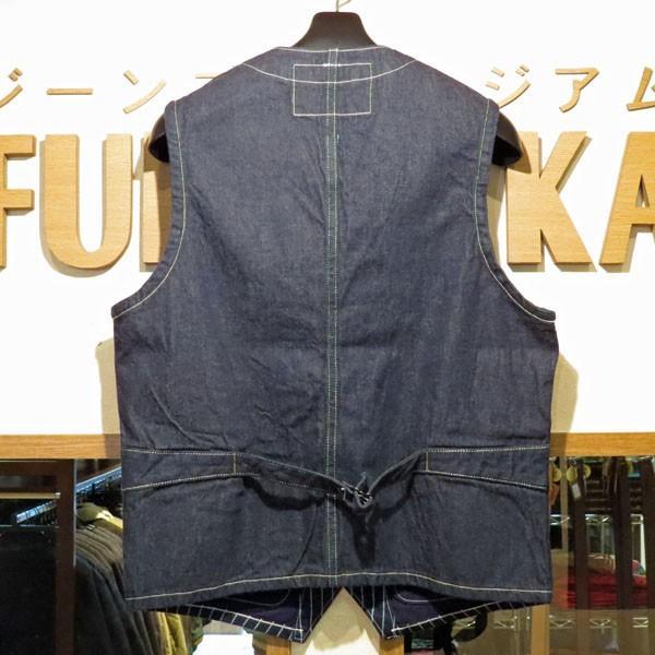 シュガーケーン Sugar Cane 9オンス・ウォバッシュストライプ・ワークベスト【SC12654】421番色(ワンウォッシュ) furutaka 02