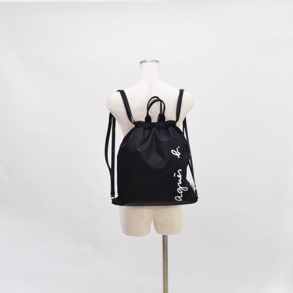 アニエス・ベー  ロゴ ナップサック リュック 2way ブラック agnes b.  ag-6