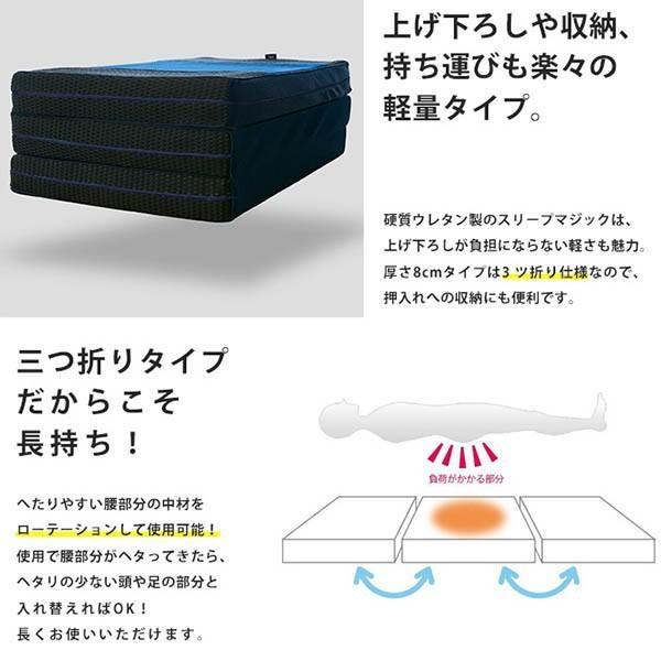 マットレス 敷布団 敷き布団 高反発 シングル 厚み8cm 体圧分散 三つ折り 敷きふとん ライズTOKYO|futon|12