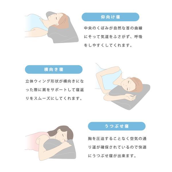 枕 まくら マクラ 低反発枕 ウイング・ピロー 枕 横向き枕 横寝で息らく ウィングピロー 快眠枕 こだわり安眠館オリジナル futon 16