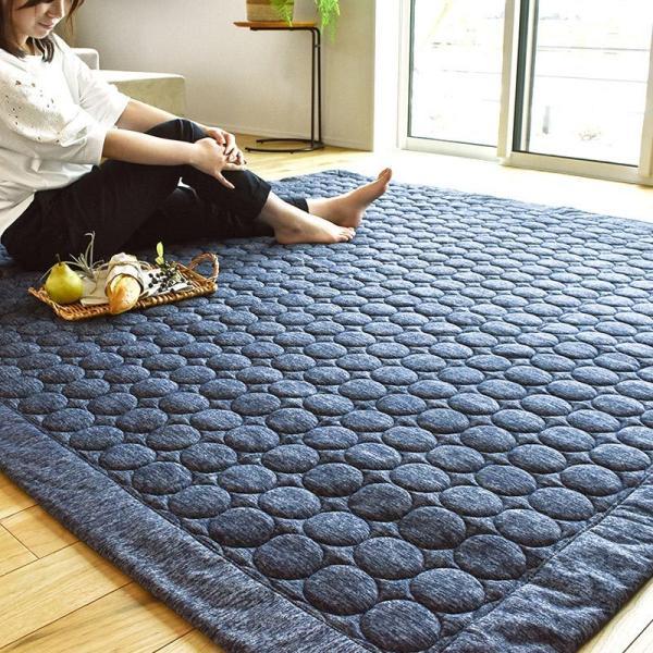 ひんやり接触冷感ラグ 2畳 185×185cm 夏用 ウォッシャブル 洗える涼感ラグ グラシエ futon 02