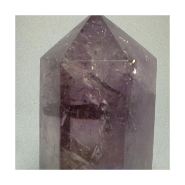 パワーストーン天然石アメジストポイント(紫水晶六角柱) 透明感のあるキレイな紫色!虹入り ブラジル産の大きな安定感のあるポイント