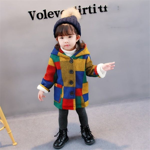 トップス綿コート女の子冬着暖かいアウターカーディガンチェック柄ダッフルコートプラス綿の服裹起毛アウター子供