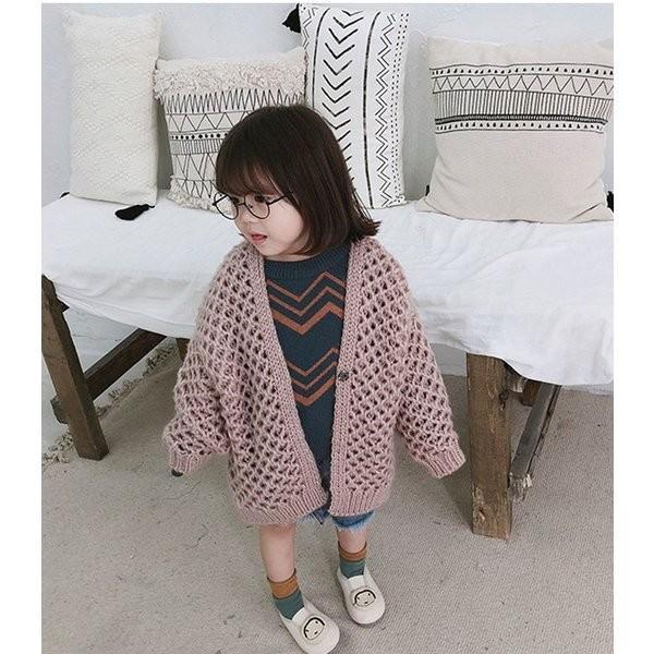 トップスニットカーディガンコート韓国子供服ローゲージ女の子ベビー服秋冬ポリエステル前開き2色選べる90-130cm