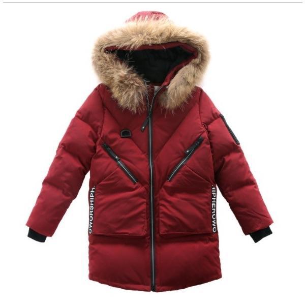 ダウンジャケット子供ダウンコートロングキッズ男の子女の子フード付きジュニア冬防寒