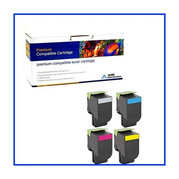 80C1SBCMY AIM Compatible Replacement for Lexmark CX-310//410//510 Toner Cartridge Combo Pack BK//C//M//Y - Generic NO. 801S