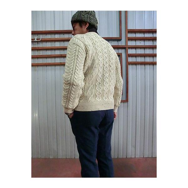 Kerry Woollen Mills(ケリー ウーレン ミルズ)Aran Collarless Cardigan 丸首カーディガン Aran nepp|gaku-shop|04