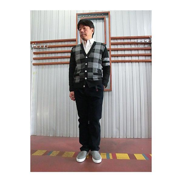 【SALE】U.S.W UNIVERSAL STYLE WEAR USW チェック柄 ニットVカーディガン BLACK|gaku-shop|02