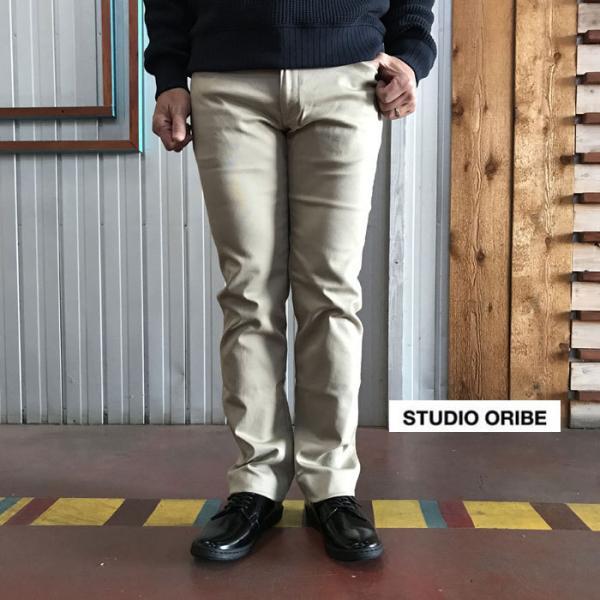 STUDIO ORIBE(スタジオオリベ) L POCKET PANTS LP01 オン、オフで活躍 Lポケットストレート ストレッチ素材パンツ BEIGE ベージュ|gaku-shop
