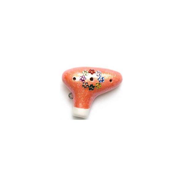 フジタ オカリナ ピッコリーノ ビーズあり オレンジ色(OR) 894794/チェーン、ケース、箱、運指表付