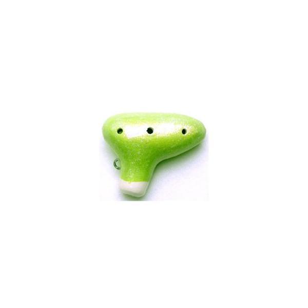 フジタ オカリナ ピッコリーノ ビーズなし 緑色(GR) 894800/チェーン、ケース、箱、運指表付