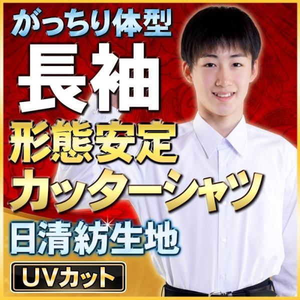 学生服 スクールシャツ 形態安定 長袖カッターシャツ B体 ノンアイロン 男子|gakuseifuku