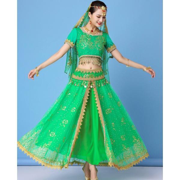 ベリーダンス衣装 インドダンス 演出服 組み合わせ自由 ヒップスカーフ 4色 半袖 舞台 発表会 コスチューム hy0074(hy0074) galaxy88 08