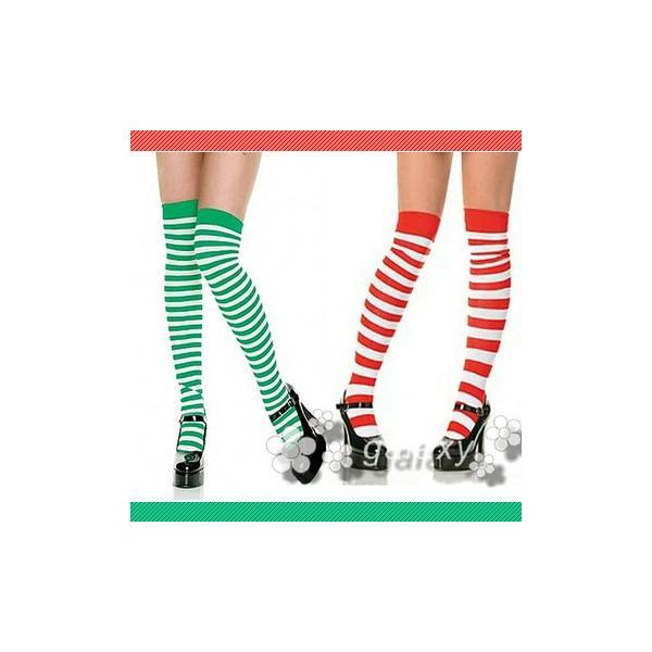 クリスマスサンタハイソックスストライプボーダーレッド&グリーンsh065s あすつく対応 (sh065s)(sh065s)