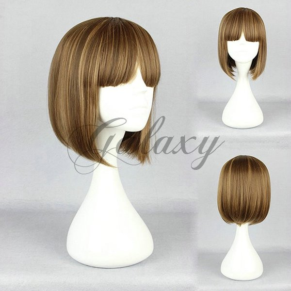 原宿ガール ボボヘアー ロリータ ブラウン混色 ショート コスプレウィッグ  wig-475a(wig-475a)