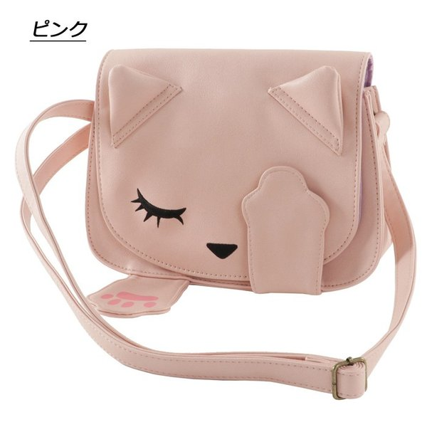 ショルダーバッグ ネコ プーちゃん 合皮 レディース 猫顔 バッグ ポシェット かわいい いないいないばぁ BAG ネコ 女の子 猫 おすましプーちゃん 女性 送料無料