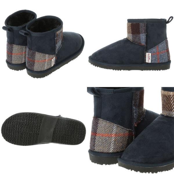 ハリスツイード ムートンブーツ Harris Tweed ブーツ レディース ¥ショートブーツ 女性 インヒール ショート丈ブーツ 柄 靴