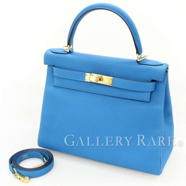 エルメス ハンドバッグ ケリー28 cm 内縫い ブルーザンジバル×ゴールド金具 トゴ HERMES Kelly バッグ