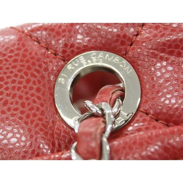 シャネル チェーントートバッグ マトラッセ レッド×シルバー金具 キャビアスキン A67292 バッグ ココマーク